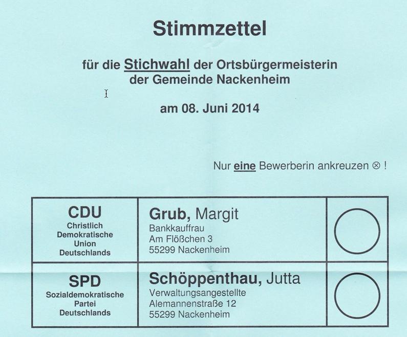Stimmzettel blau
