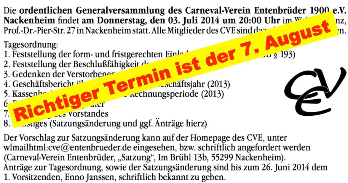 CVE Falscher Termin