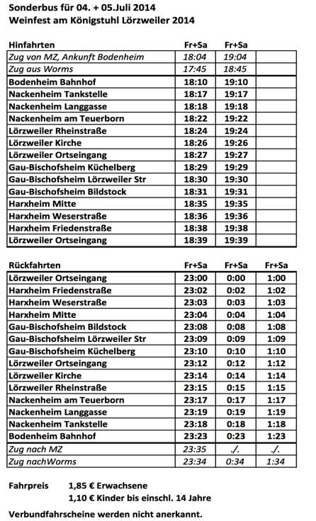 Fahrplan Lörzweiler