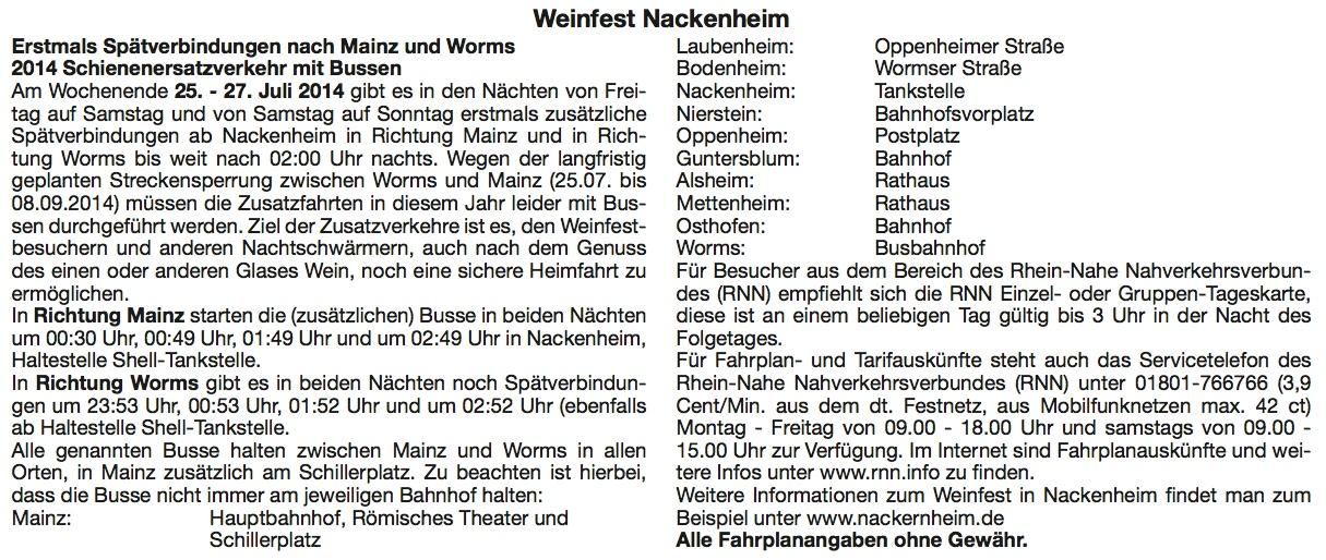 Fahrplan Weinfest 2014