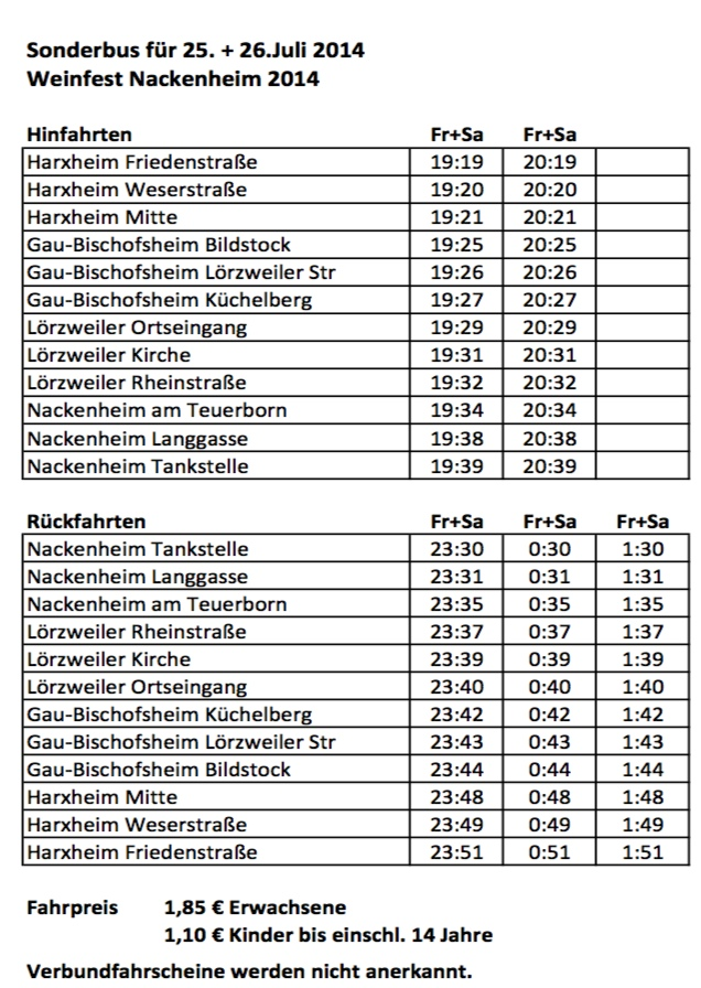 Fahrplan Weinfest Nackenheim