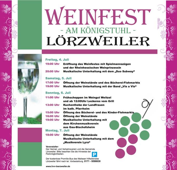 Weinfest Lörzweiler Program