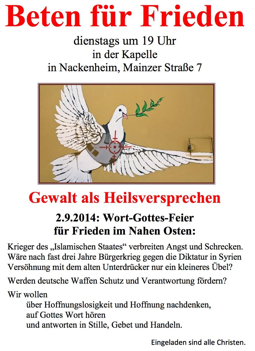 Morgen in Nackenheim – Friedensgebete werden fortgesetzt ...
