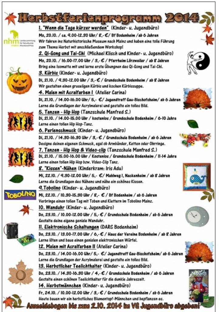Herbstprogramm Ferien Jugend