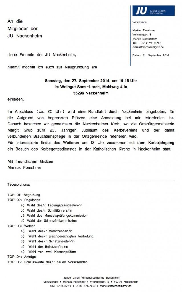 Junge Union Nackenheim Gründung
