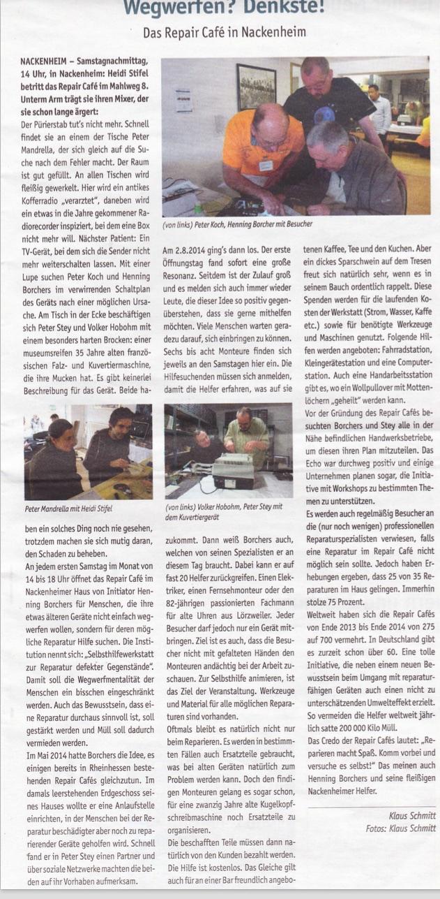 Quelle: Zeitungsverlag Schenk, Lokale Zeitung Mai/15 Autor: Klaus Schmitt