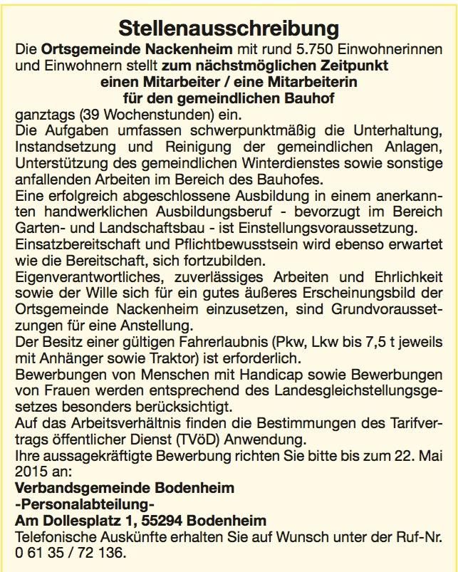 Bauhofmitarbeiter gesucht 2015
