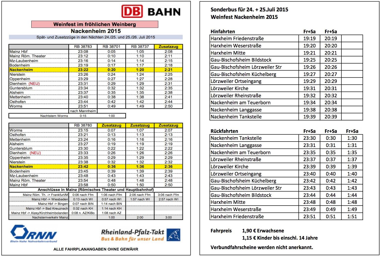 Weinfest Fahrplan 2015