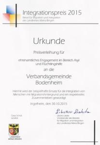 Integrationspreis 2015 Flüchtlingshilfe VG Bo