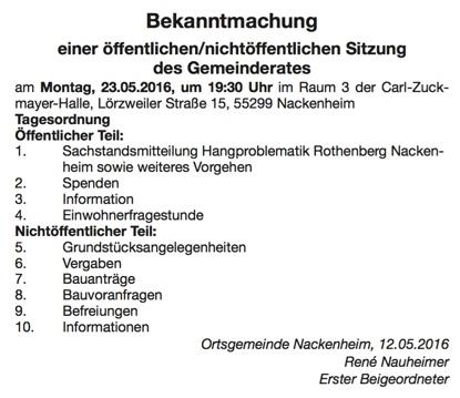 Gemeinderat NA 2016 05